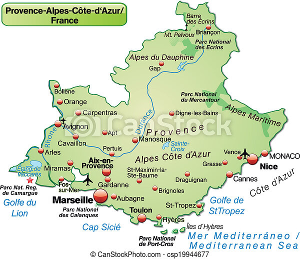 Map of provencealpescote d azur as an overview map in vectors
