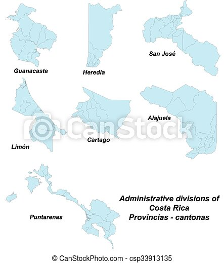 Map of provinces in Costa Rica