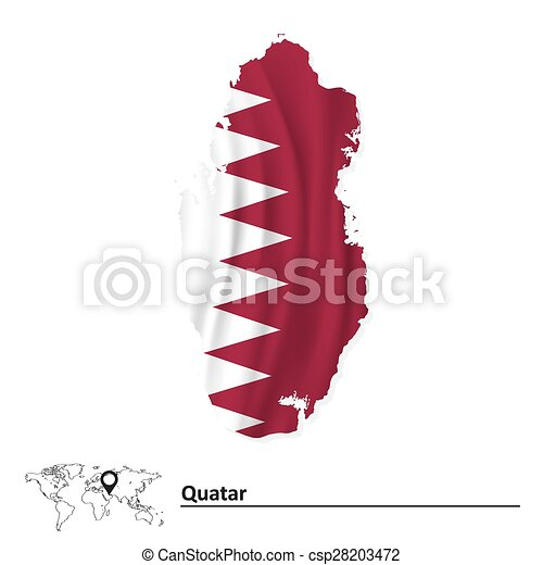 Map of Qatar with flag - csp28203472