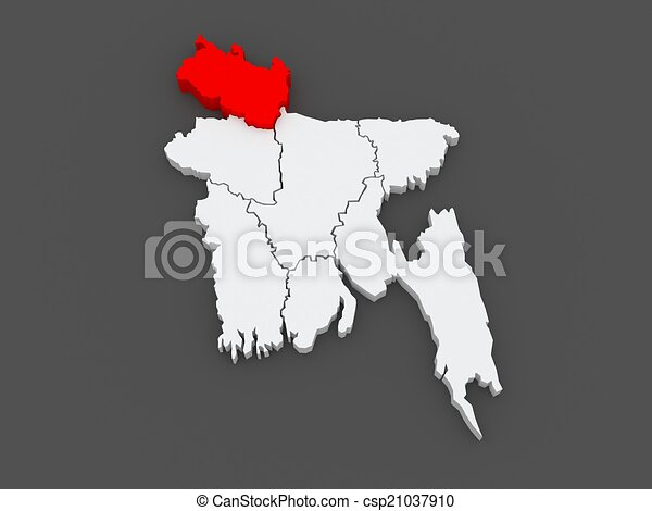 Map of rangpur bangladesh 3d clipart Search Illustration