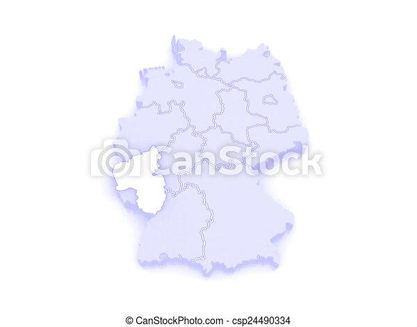 Map Of Rheinland Pfalz Germany 3d