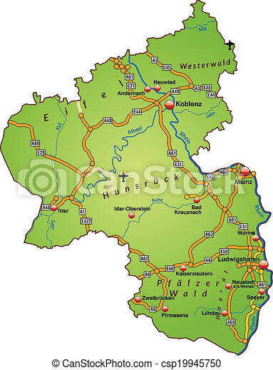 Map of rhinelandpalatinate with highways in green clipart vector