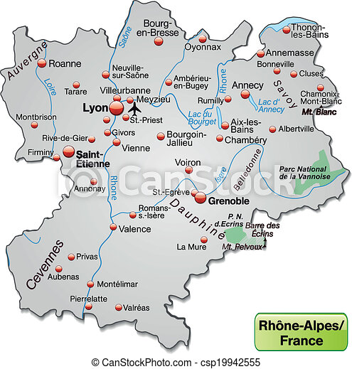 Map of rhonealpes as an overview map in gray clipart vector