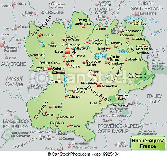Map Of Rhone Alpes As An Overview Map In Pastel Green