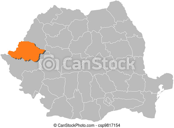Map of romania arad highlighted Political map of romania eps