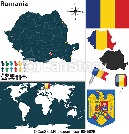 Map of romania. Vector map of romania with regions, coat of arms and ...