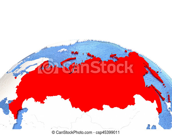 Map of russia on globe with embossed continents 3d stock map of russia on globe csp45399011 gumiabroncs Choice Image