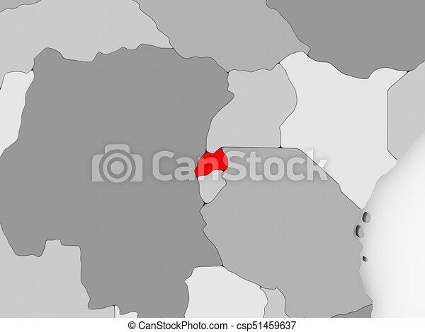 Map of rwanda Rwanda in red on grey political map 3d drawings