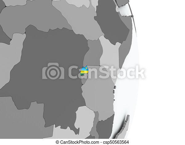 Map of rwanda with flag Rwanda on political globe with stock