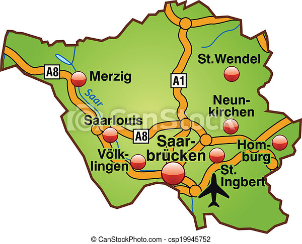Map of saarland with highways in green clipart vector Search