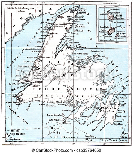 Map of saint pierre and miquelon vintage engraving Map of stock
