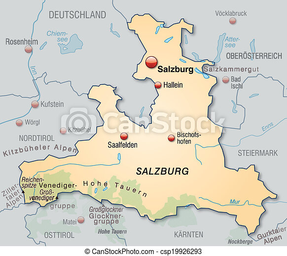 Map Of Salzburg As An Overview Map In Pastel Orange