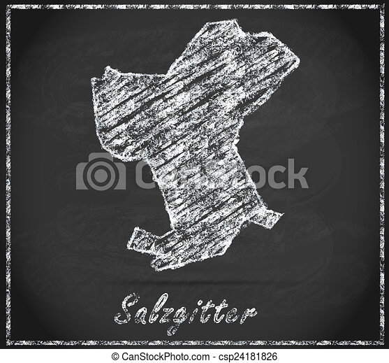 Map of salzgitter as chalkboard in black and white clip art Search