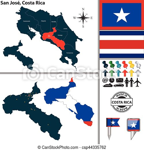 Map of san jose, costa rica. Vector map of province san jose with ...