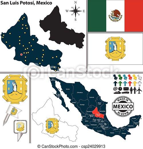 Map Of San Luis Potosi Mexico Vector Map Of State San Luis Potosi