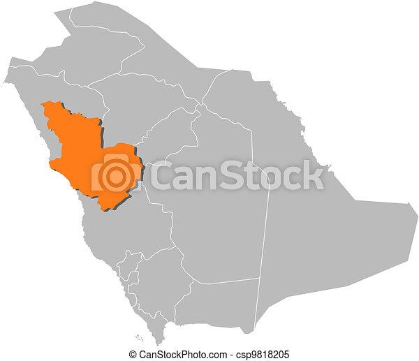 Map of saudi arabia, al madinah highlighted. Political map of saudi ...