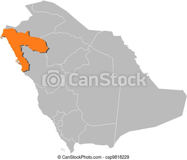Map Of Saudi Arabia Tabuk Highlighted Political Map Of Saudi