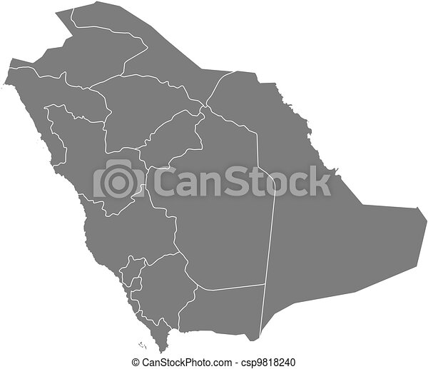 Political map of saudi arabia with the several provinces vector