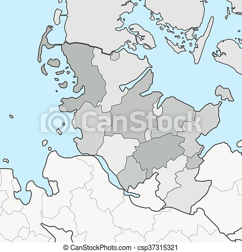 Map of Schleswig-Holstein with neighboring federal states - csp37315321