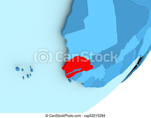 Map of Senegal on blue political globe - csp52215294