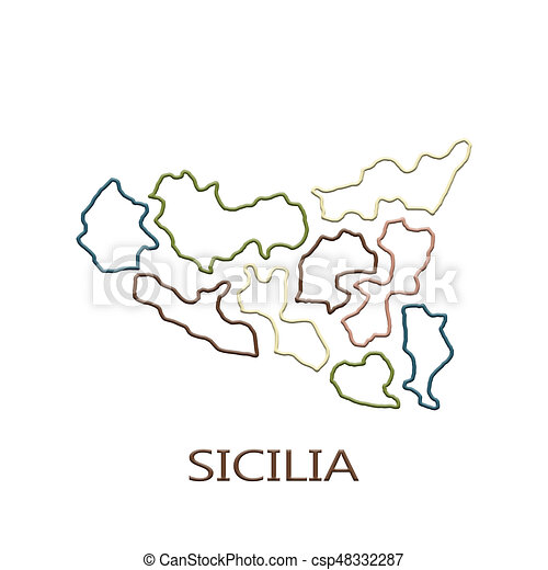 Map of sicily on white background