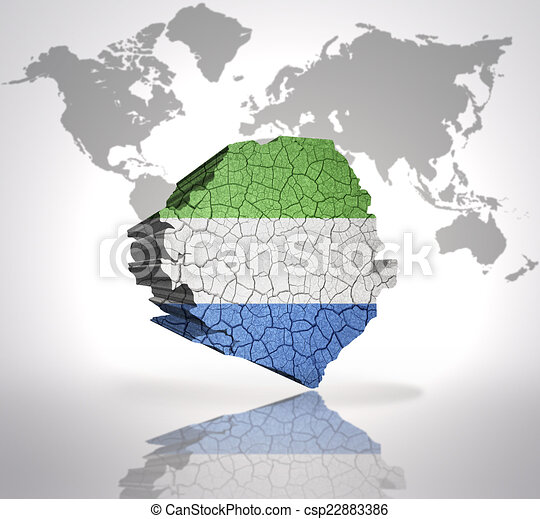 Map Of Sierra Leone With Sierra Leone Flag On A World Map Background