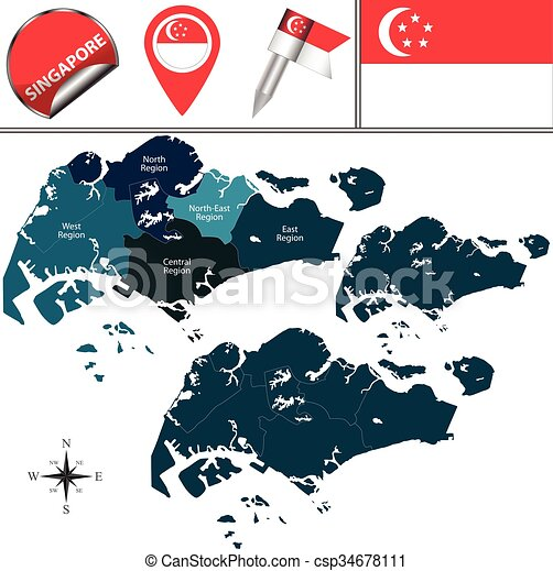 Map of singapore. Vector map of singapore with named regions and ...
