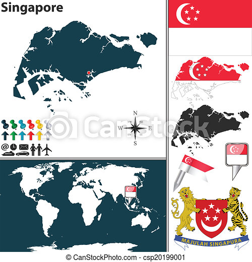 Map of singapore. Vector map of singapore with regions, coat of arms ...