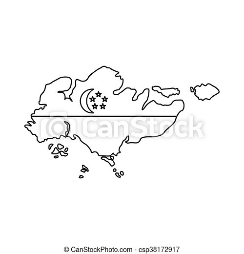 Vector Clip Art of Map of Singapore with flag icon outline style