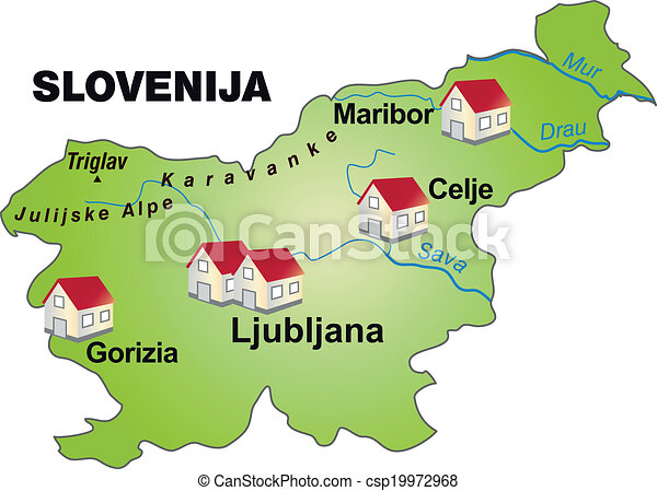 Map Of Slovenia As An Infographic In Green