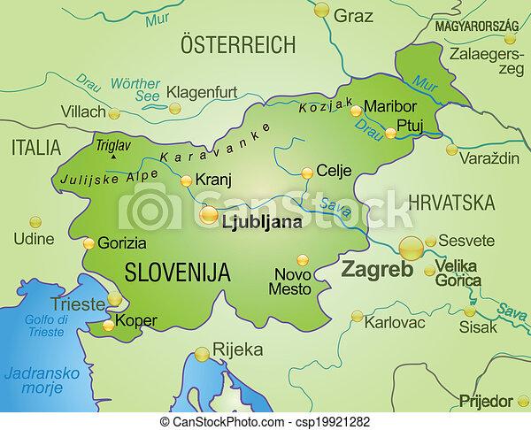 slovenien karta Map of slovenia as an overview map in green. slovenien karta