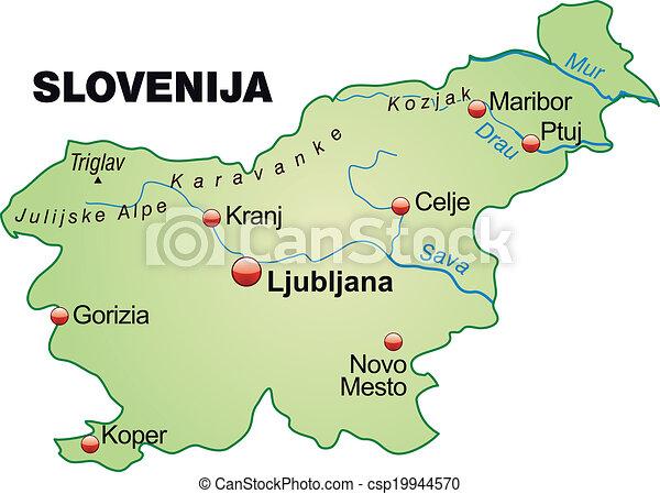 slovenien karta Map of slovenia as an overview map in pastel green vectors  slovenien karta
