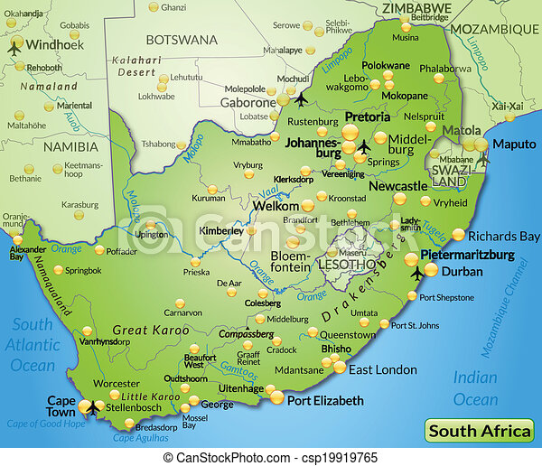 Map of south africa as an overview map in green clip art vector