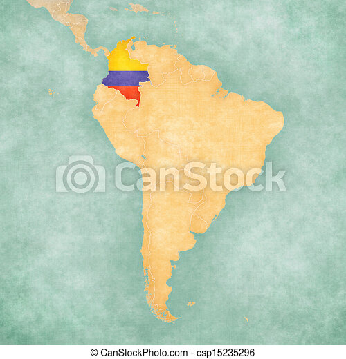 Map of south america colombia vintage series Colombia stock