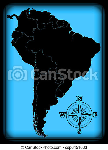 America Map With Compass.Map Of South America On The Old Background With Compass