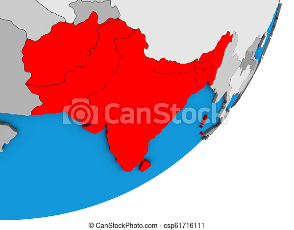 Map of South Asia on 3D globe - csp61716111