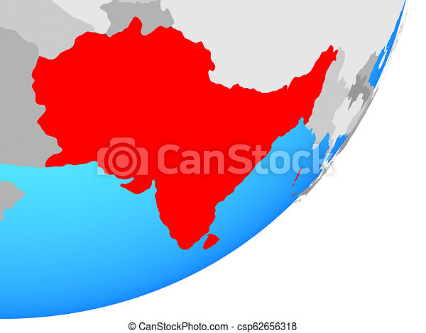 Map of South Asia on globe - csp62656318
