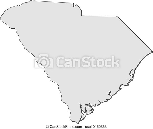 Clip Art Vector of Map of South Carolina United States Map of
