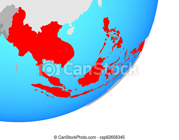 Map of South East Asia on globe - csp62656345