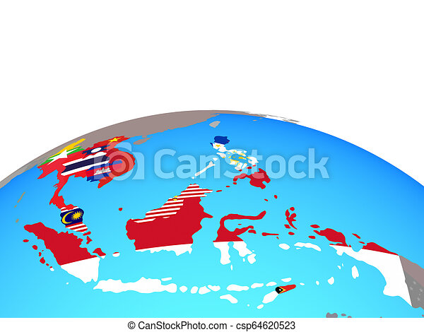 Map of South East Asia with flags on globe - csp64620523