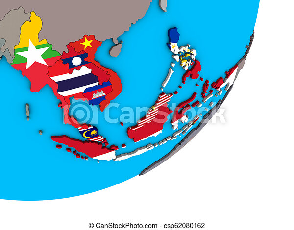 Map of South East Asia with flags on globe - csp62080162