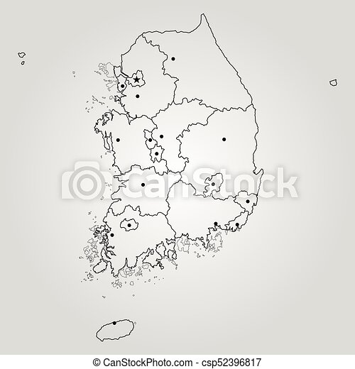 Map Of South Korea Vector Illustration World Map Vector Clip Art - South korea map vector