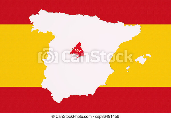 Map Of Spain With Madrid.Map Of Spain And Madrid On Bright Red And Yellow Background