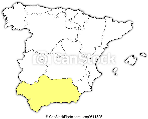 Map of Spain, Andalusia highlighted