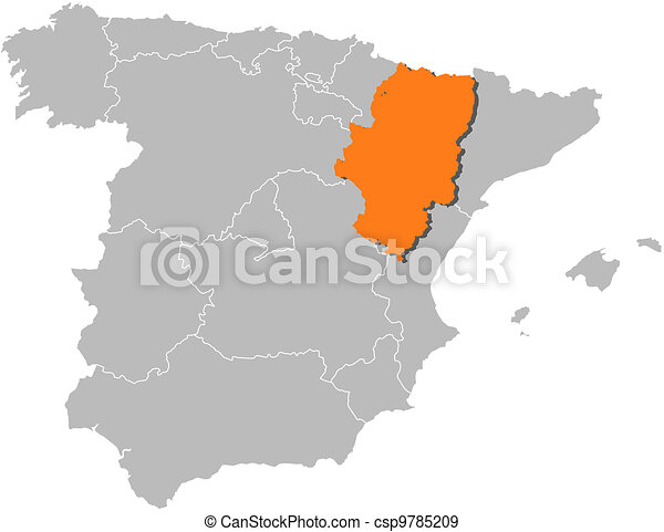 Map of spain, aragon highlighted. Political map of spain with the ...