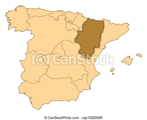 Map Of Spain Aragon Highlighted Map Of Spain Where Aragon Is