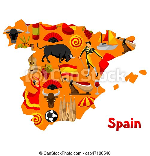 Map Of Spain Background Design Spanish Traditional Symbols And Objects