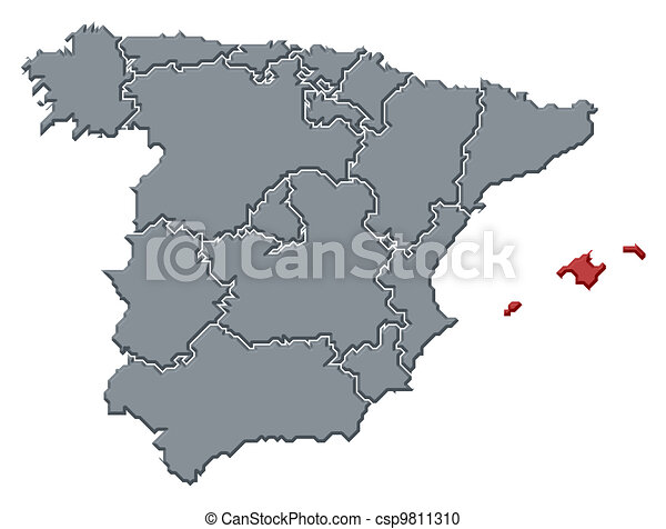 Map of spain, balearic islands highlighted. Political map of spain ...