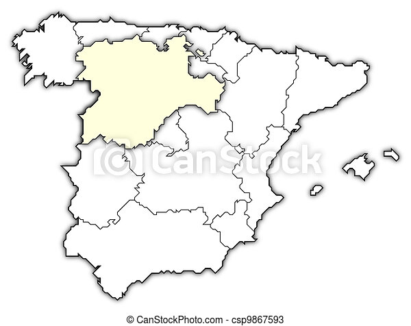 Map Of Spain Drawing.Map Of Spain Castile And Leon Highlighted Political Map Of Spain