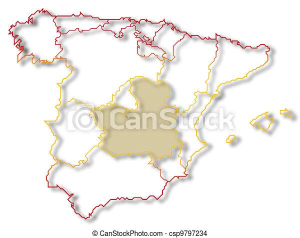 Map of spain castilela mancha highlighted Political map